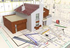 House Layout And Architectural Drawings stock illustration