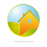 House and leaf symbol Royalty Free Stock Image