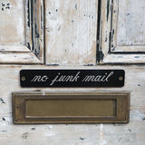 House letterbox with 'No junk mail' Royalty Free Stock Photo