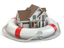 House in life belt. Conceptual image. Royalty Free Stock Image