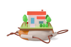 House on a life preserver.3D illustration. stock illustration