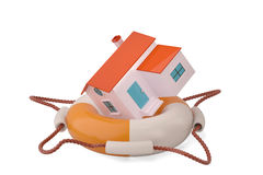 House on a life preserver.3D illustration. vector illustration