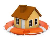 House in Lifebuoy Isolated Stock Images