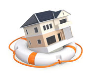 House in a lifebuoy Stock Photography