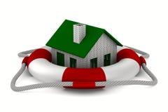 House into lifebuoy on white background Stock Images