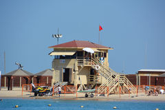 House of lifeguard. TEL AVIV ISRAEL 04 11 16: House of lifeguard in Tel Aviv beach. Shallow waters and the constant presence of lifeguards will help ease the Royalty Free Stock Photos