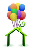 A house lifted by Balloons - illustration Stock Image
