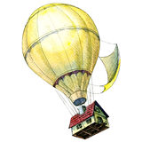 House lifted to the sky by hot air balloons. Concept. Stock Image