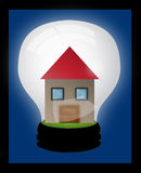 House in a light bulb. Family house - illustration symbolized an idea in housing Royalty Free Stock Photos