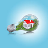 House in the light bulb Stock Photography