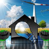 House with Light bulb and Renewable Resources. Hands with work gloves holding a model house with a light bulb 3d Illustration, solar panels, wind turbine and a Royalty Free Stock Images