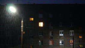 House at lightning light at night stock video