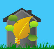 House with like a light bulb and leaf Stock Image