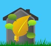 House with like a light bulb and leaf Stock Image