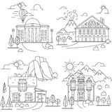 House line icon landscapes Royalty Free Stock Photography