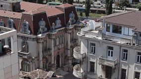 The house with lions. Located in Constanta Peninsula, Emirzian house called the House with Lions due to four columns on whose capitals dominates the lions, hides stock video