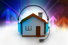 House listening to music. While holding headphones Stock Images