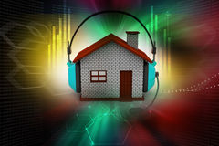 House listening to music while holding headphones. In color background Stock Photos