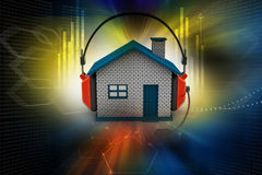 House listening to music while holding headphones. In color background Stock Images