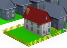 House with little garden - isolated 3d Royalty Free Stock Image