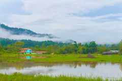 House on the little lake. Small lake house in central Thailand royalty free stock photos