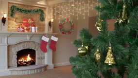 House living room decorated for Christmas celebrate. Christmas holiday eve. Green fir tree with gold decor. Flame in. Fireplace. Gift box with gifts for family stock footage