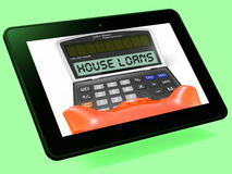 House Loans Calculator Tablet Shows Mortgage And Bank Lending. House Loans Calculator Tablet Showing Mortgage And Bank Lending Royalty Free Stock Images