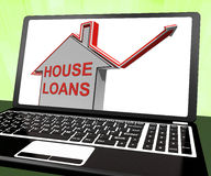 House Loans Home Laptop Means Borrowing And Mortgage Royalty Free Stock Photos