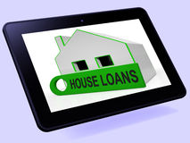 House Loans Home Tablet Means Mortgage Interest And Repay Royalty Free Stock Image