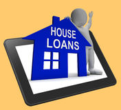 House Loans Home Tablet Shows Borrowing Repayments And Interest Stock Images