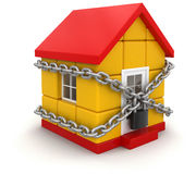 House and lock (clipping path included) Royalty Free Stock Images