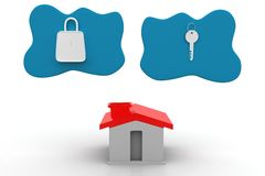 House With Lock And Key In Clouds Royalty Free Stock Photography