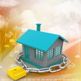 House locked in chain and padlock Stock Photos