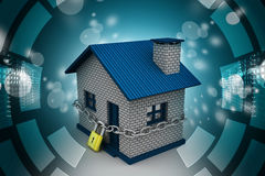 House locked in chain and padlock Royalty Free Stock Image