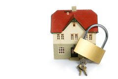 House  locked with padlock Royalty Free Stock Photo