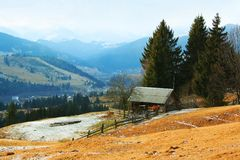 House or log cabin in Carpathian Mountains Royalty Free Stock Image