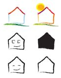 House logo. Set of different logos about house. Vector drawings Royalty Free Stock Photo