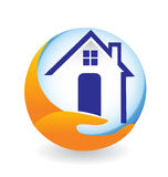 House logo. Icon illustration design for insurance company Stock Photography