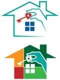 House logo set. Line art house logo set with isolated white background Stock Image