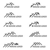 House logo set. Monochrome collection of house logos Royalty Free Stock Photography
