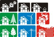 House logos. Housing development, , housing estate, fire brigade, environmental risk, fruit tree Stock Images