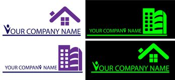 House Logos for company. House logo in white and black background 10 Illustration art Stock Image