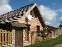 House of the logs in the village Royalty Free Stock Photography