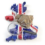 House and loupe on the map of UK Great Britain in colors of australian flag. Search a house for buying or rent concept. Real. Estate development in UK Great stock illustration