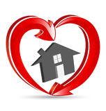 House Love Heart Family Icon Logo. Vector design royalty free illustration