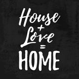 House Love Home. Housewarming hand lettering typography. Good for posters, t-shirts, prints, cards. Home sweet home concept. stock illustration