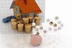 House, machine and money and piggi - bank. House, machine and money, drawn on puzzles and piggi - bank. 3d illustration on white background Royalty Free Stock Photos