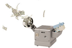 House into the machine, output cash.3D illustration. Stock Images