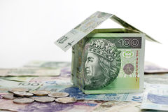 House made ​​of polish money credit and construction Stock Images