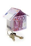The house  made of 500 Euro  banknotes. Isolated on white Royalty Free Stock Photography